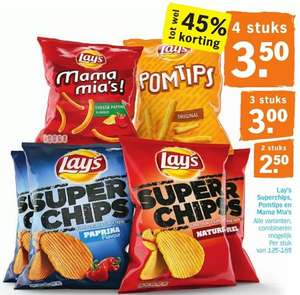 4 Lay's chips (€0,88 per zak) @Albert Heijn
