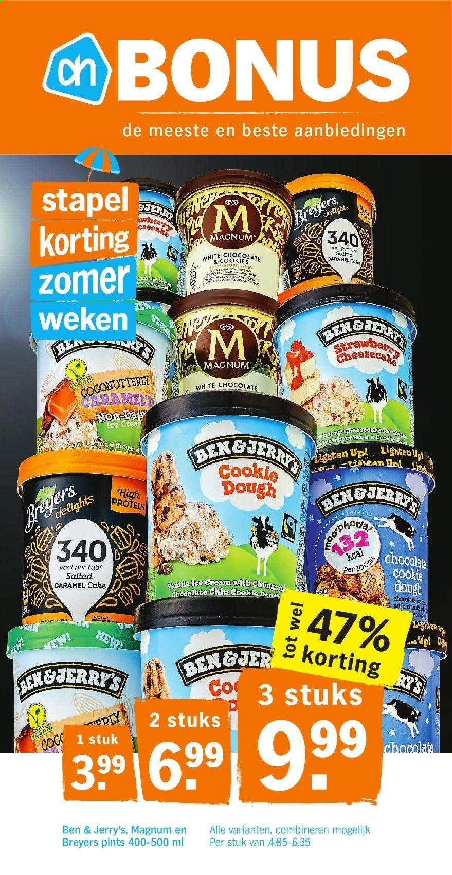 Drie pints ijs voor 9,99 (Ben & Jerry's, Magnum & Breyers) @ Albert Heijn
