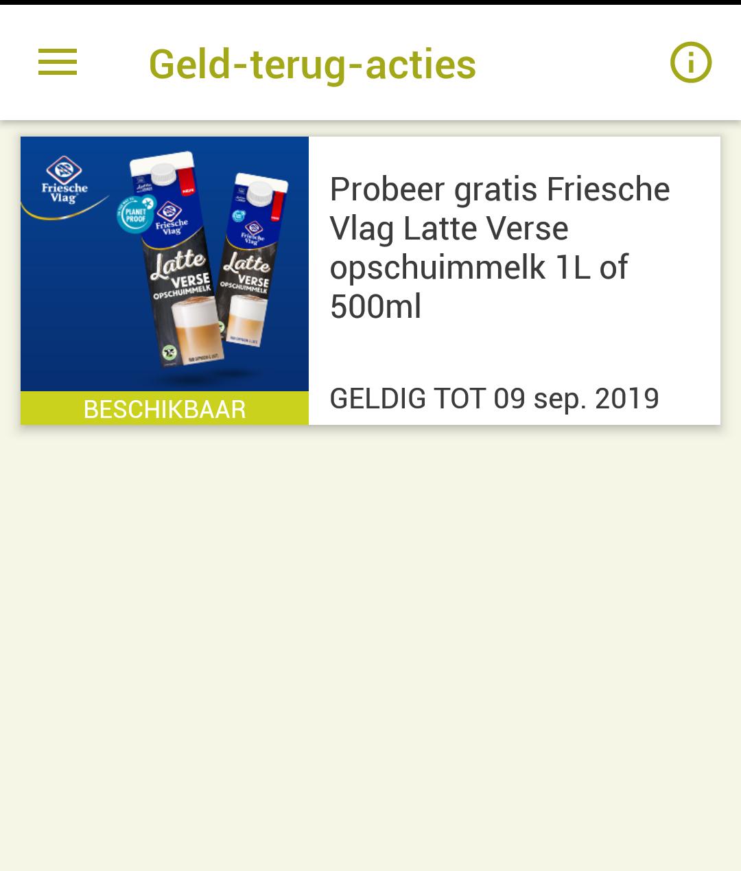 Probeer gratis Friesche vlag latte verse opschuimmelk 1l of 500ml