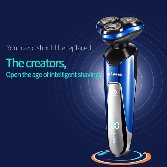 MARSKE Men 4 In 1 waterproof scheerapparaat met neus en baard trimmer. Facial Cleansing Brush Intelligent Washing