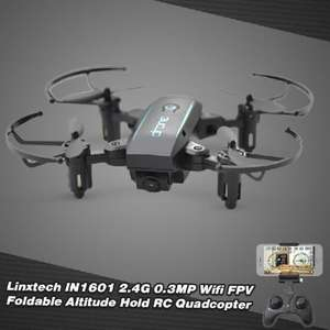 Linxtech IN1601 2.4G 480P Wifi FPV Foldable Altitude Hold RC Drone w/ 3 Batteries