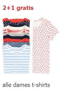 Dames T-shirts 2+1 gratis - ook sale @ HEMA