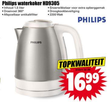 Philips waterkoker HD9305 - 1,5L @ Dirk / Dekamarkt