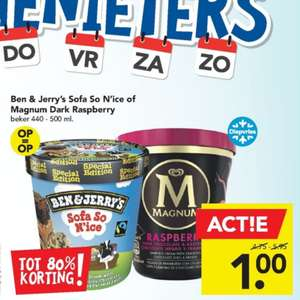 Ben & Jerry's Sofa So N'ice of Magnum Dark Rasberry voor €1 @Deen