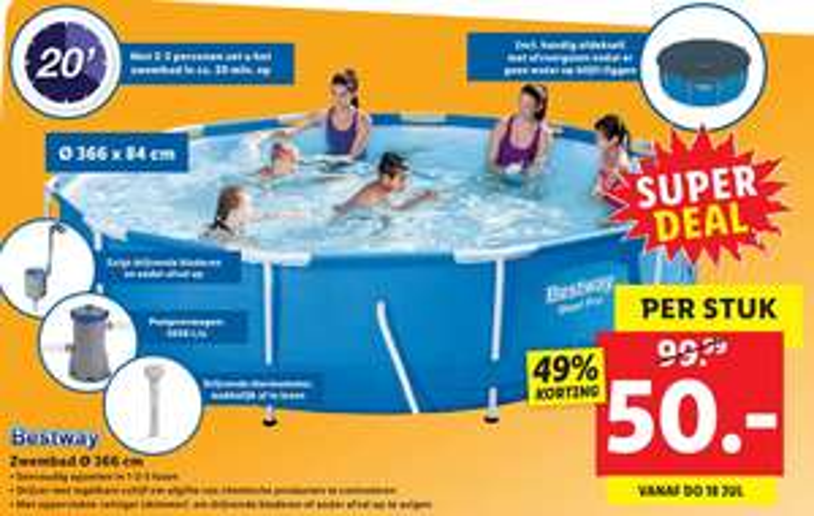 Bestway zwembad 366x84 inclusief pomp én accessoires!
