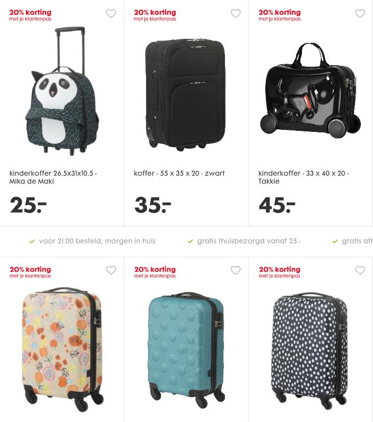20% korting op koffers