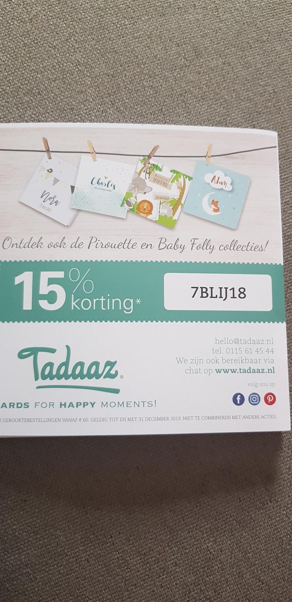 15% korting bij Tadaaz