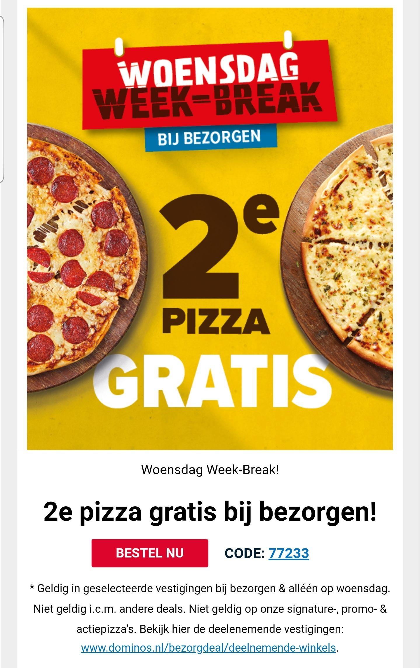 2e pizza gratis bij bezorgen domino pizza
