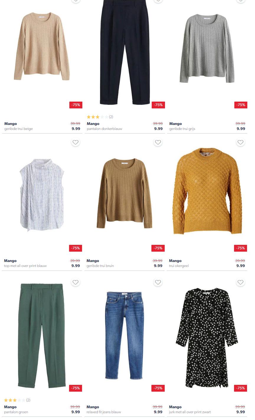 Diverse Mango kleding 71-75% korting @ Wehkamp