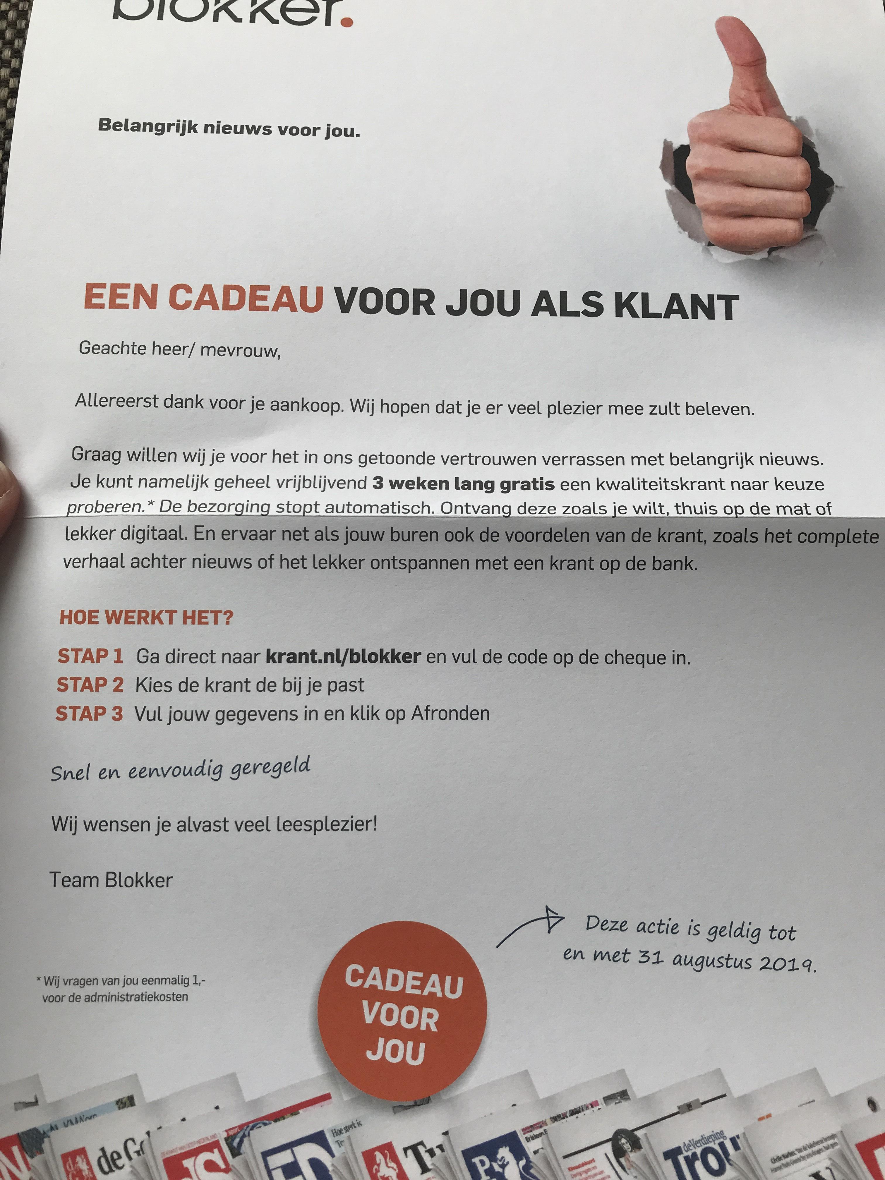 3 weken lang gratis (€1) een kwaliteitskrant naar keuze