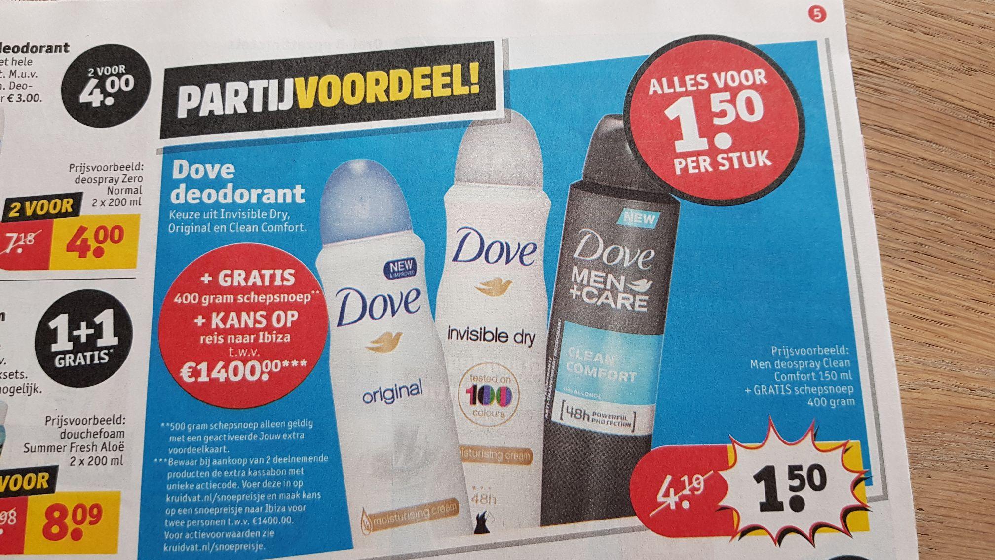 Kruidvat: Dove deodorant €1,50 per stuk. Bij 2 stuks 400/500 gram schepsnoep.