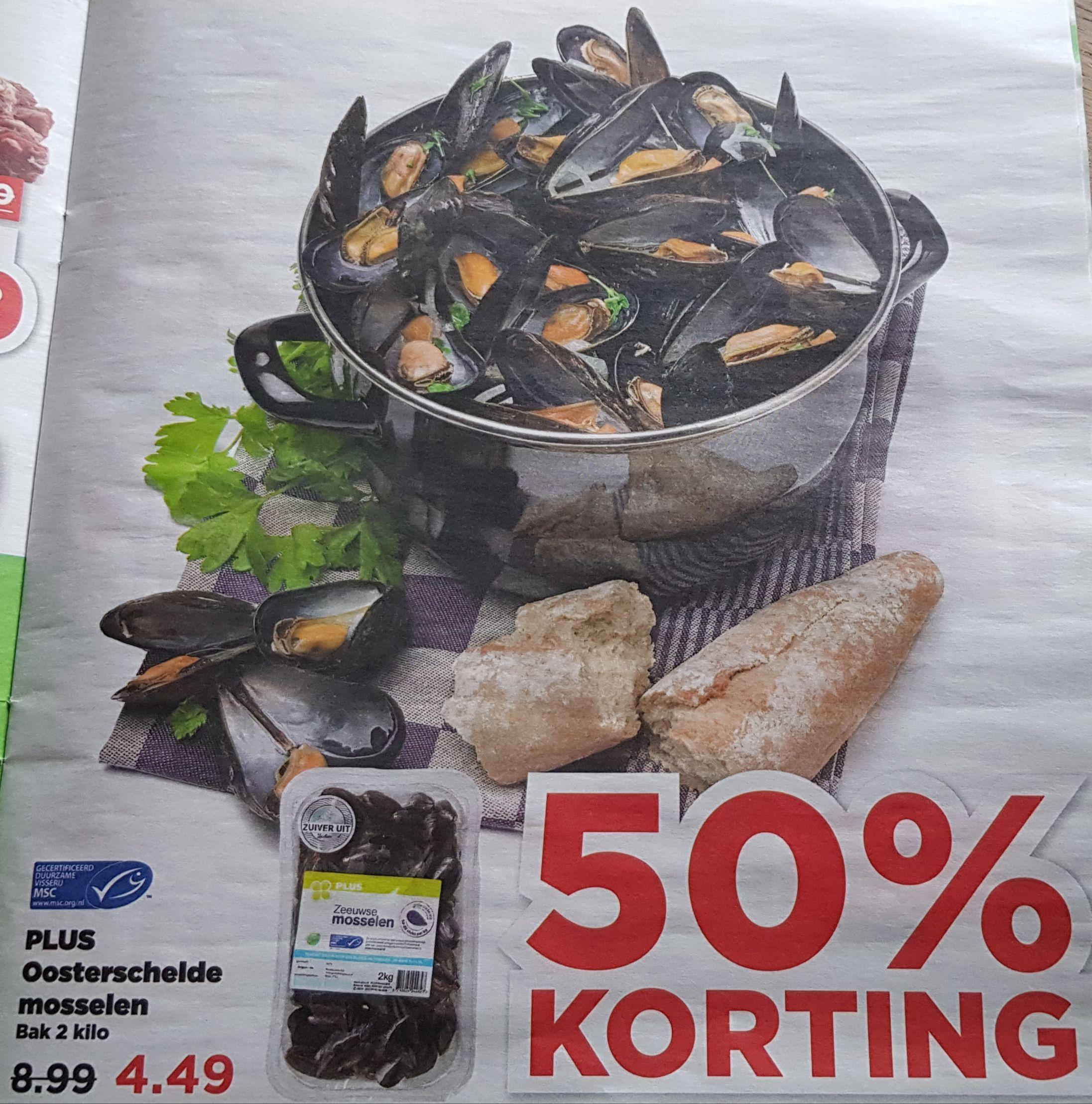 Mosselen 2 kg (Dirk van den Broek, Plus, Aldi)