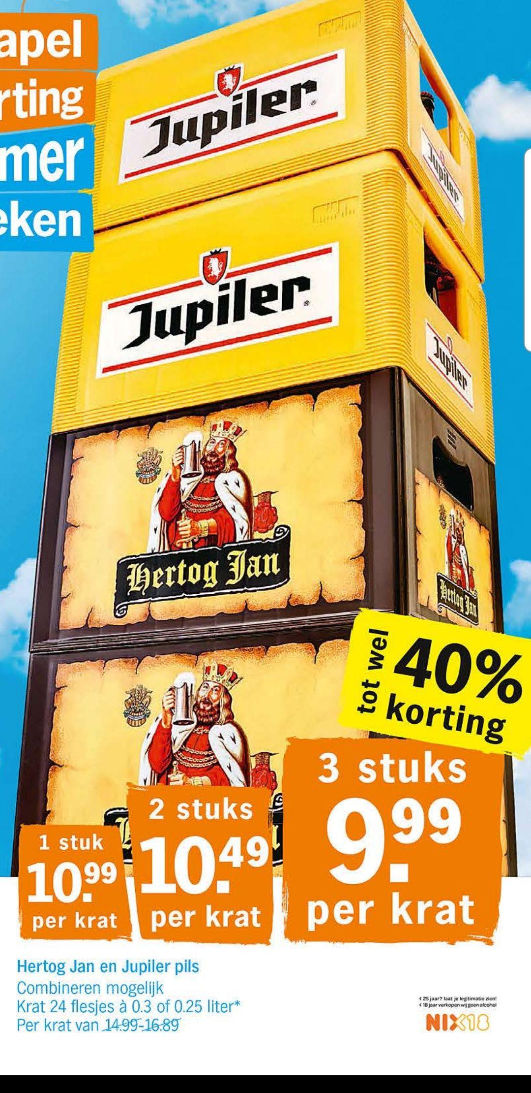 Stapelkorting bij AH met Jupiler en Hertog Jan