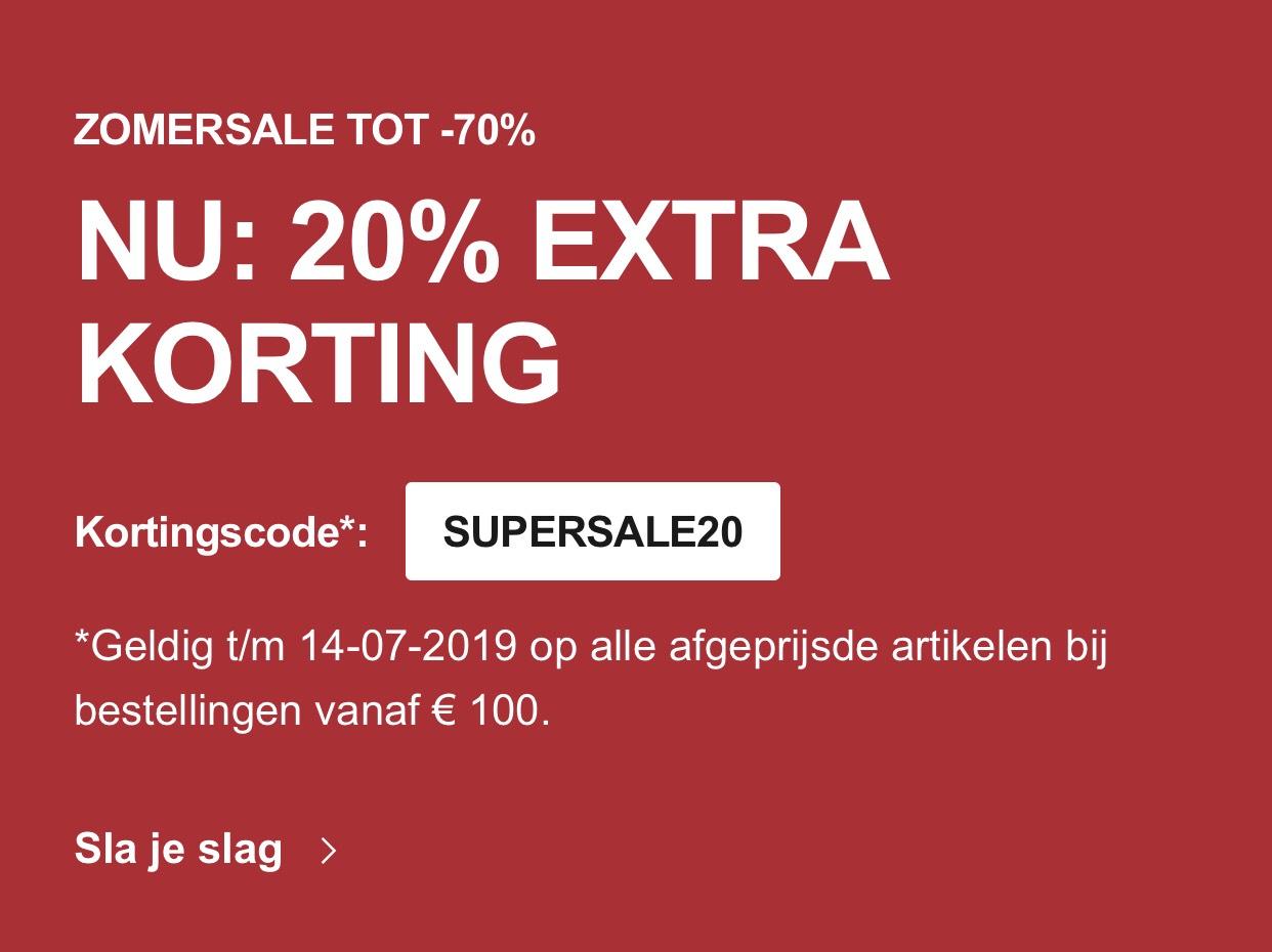 20% Extra Korting op de SALE (besteding Vanaf €100,-) @ Zalando