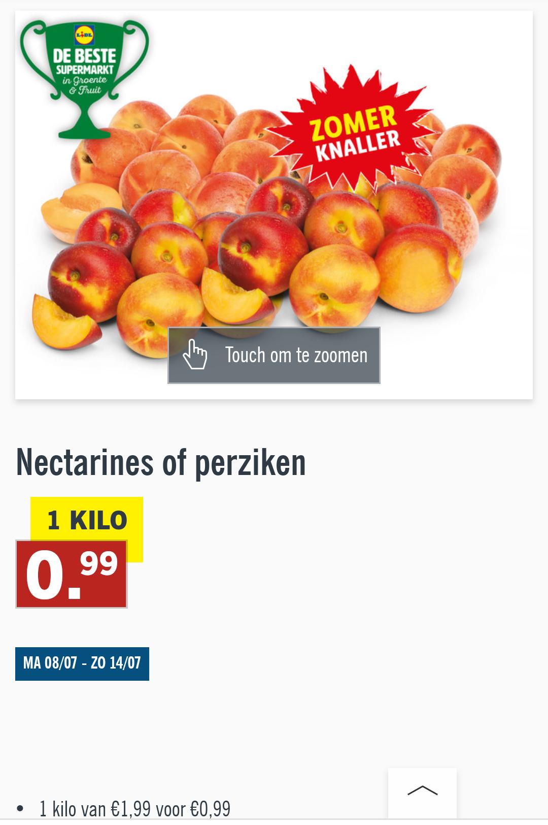 Nectarines of perziken 0.99 per kg @lidl