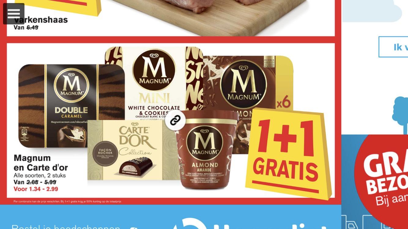 Magnum & Carte d'or 1+1 gratis! @Hoogvliet