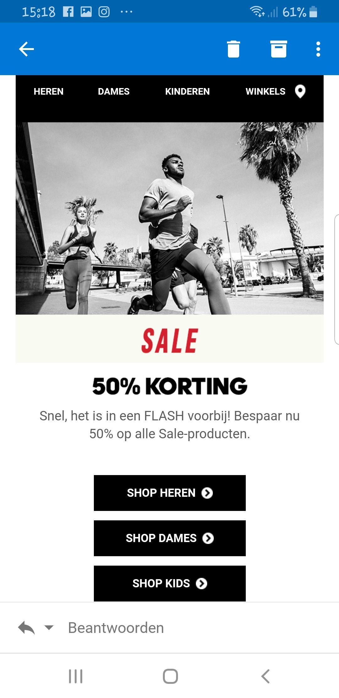 Flash Sale adidas!! 50% korting op alle sale producten.