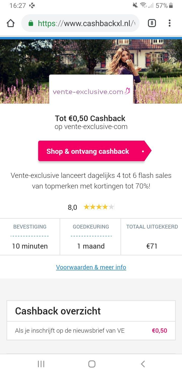 Verdien snel 1.50 euro Vente-Exclusive, Limango & Prominent