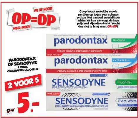 Parodontax of Sensodyne 2,50 per stuk