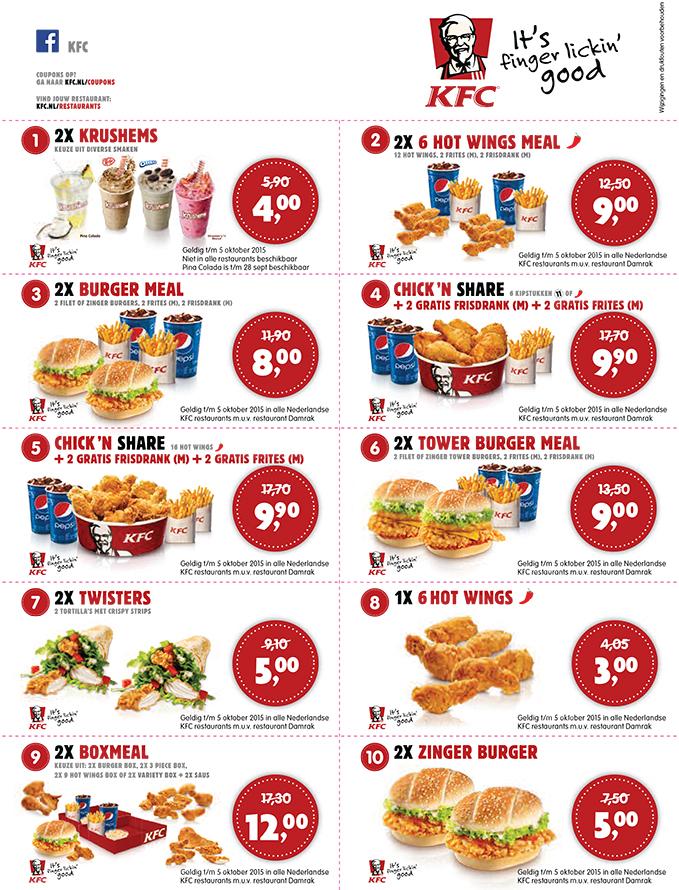 Kortingsbonnen voor KFC