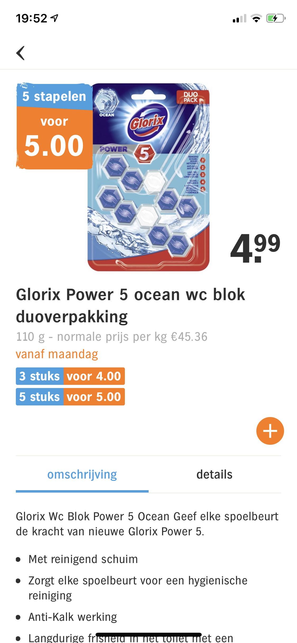 Glorix wc blok 80% (92% bij AH Bezorgbundel) korting bij 5 verpakkingen (10 stuks - €5)