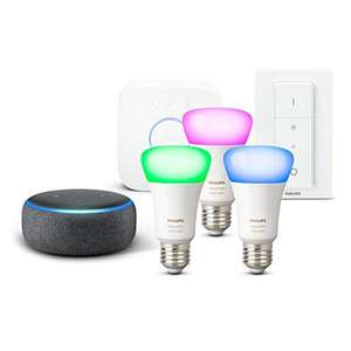 Echo Dot (3. Gen.) Antraciet/lichtgrijs + Philips Hue Color Starter Set (Duits adres nodig)