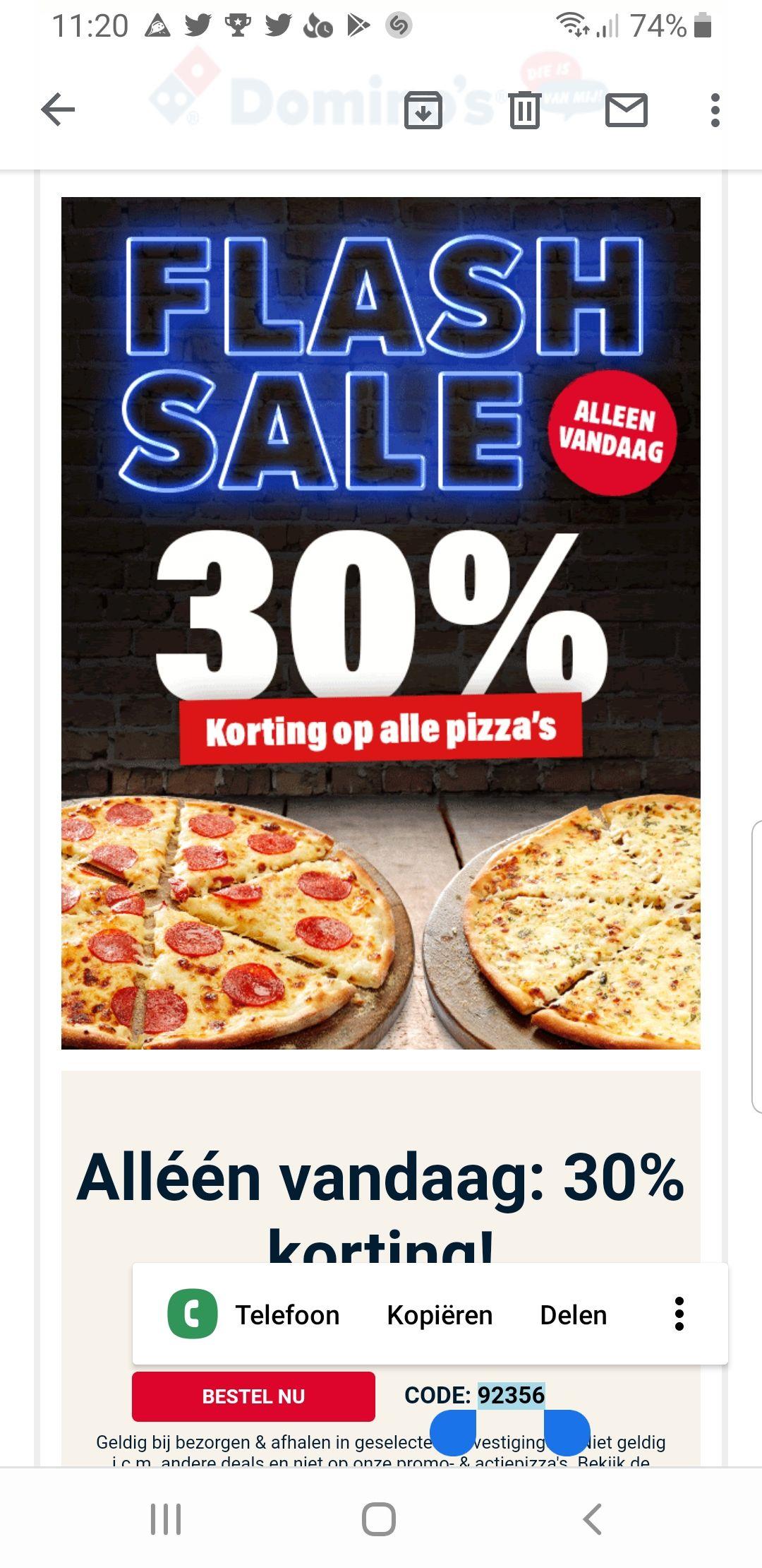30 % korting op alle pizza's!! Alleen vandaag