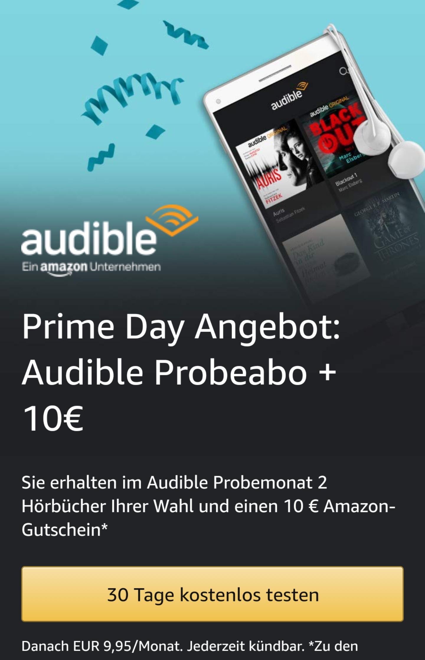 [Prime Days] €10 tegoed bij afsluiten proefabonnement Audible