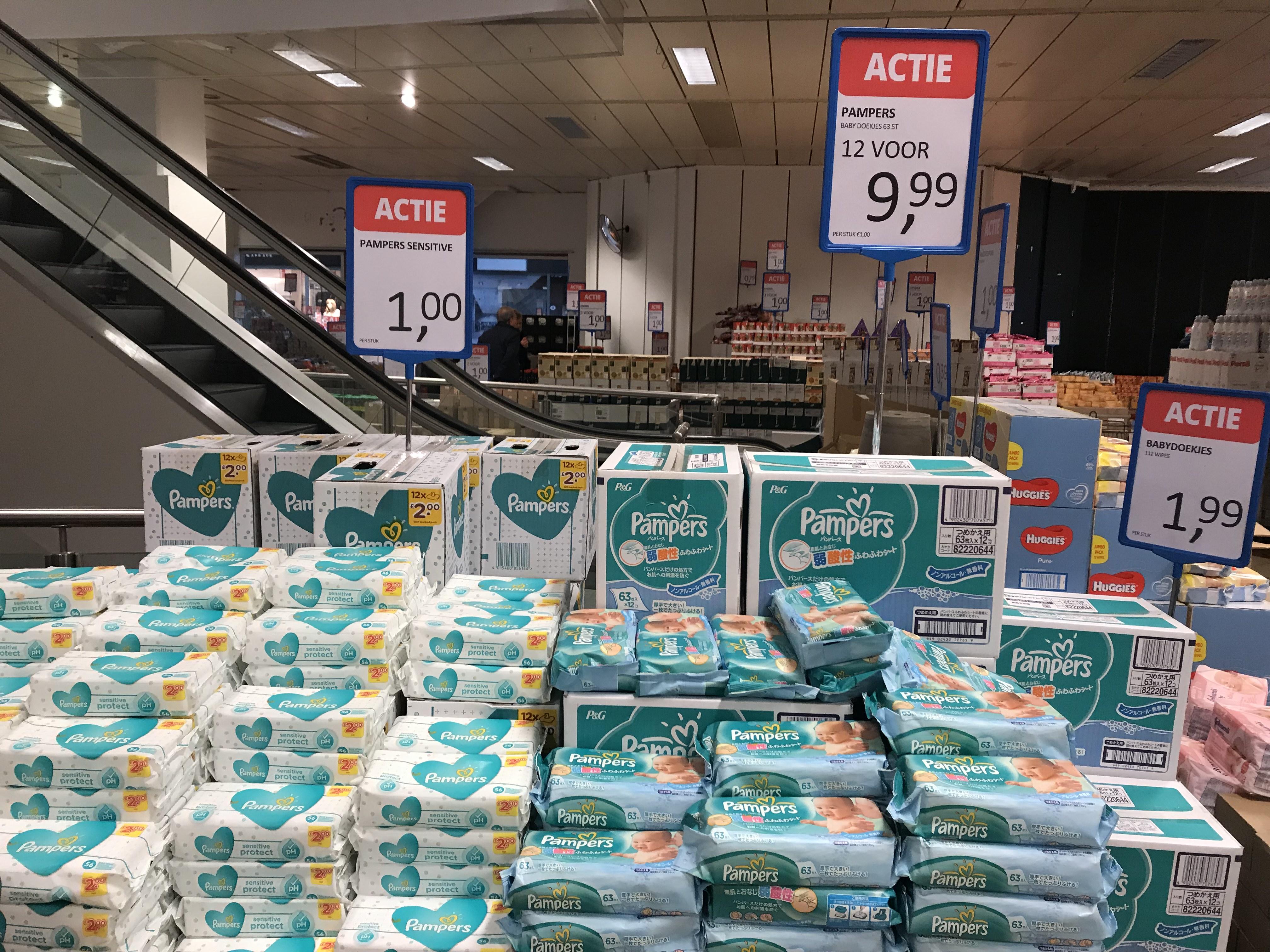 Pampers billendoekjes 12 pakken voor €10,-