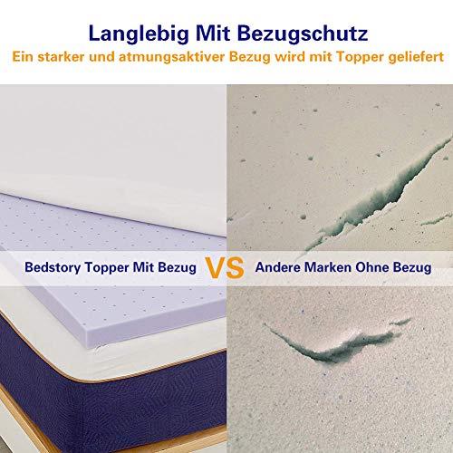 BedStory Matrastopper, traagschuim, hoogwaardige H2 hardheidsgraad lavendelolie, matrasbeschermer voor matras/boxspringbed, 90 x 200 cm