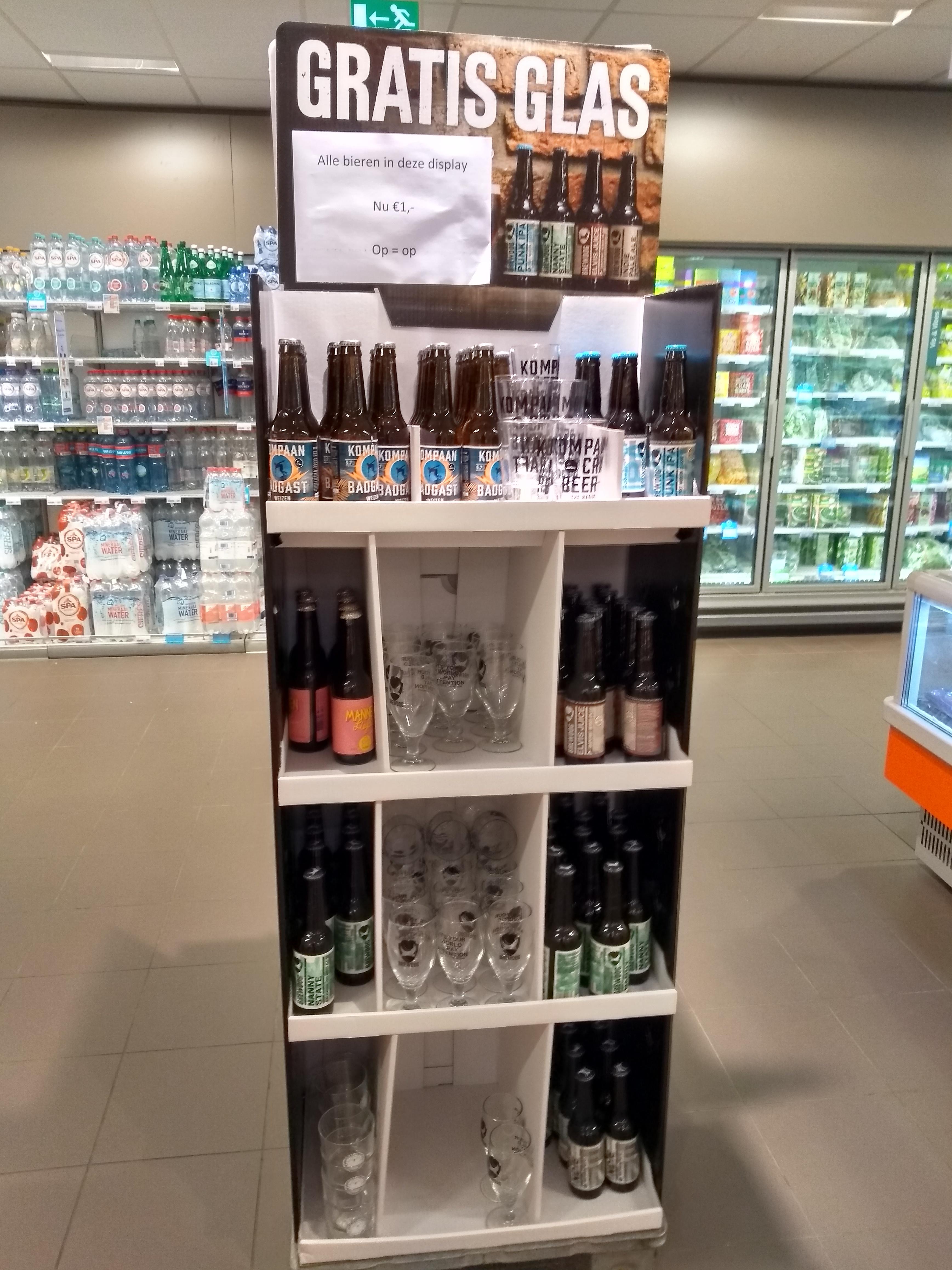 AH speciaal bier en gratis glas van dit merk
