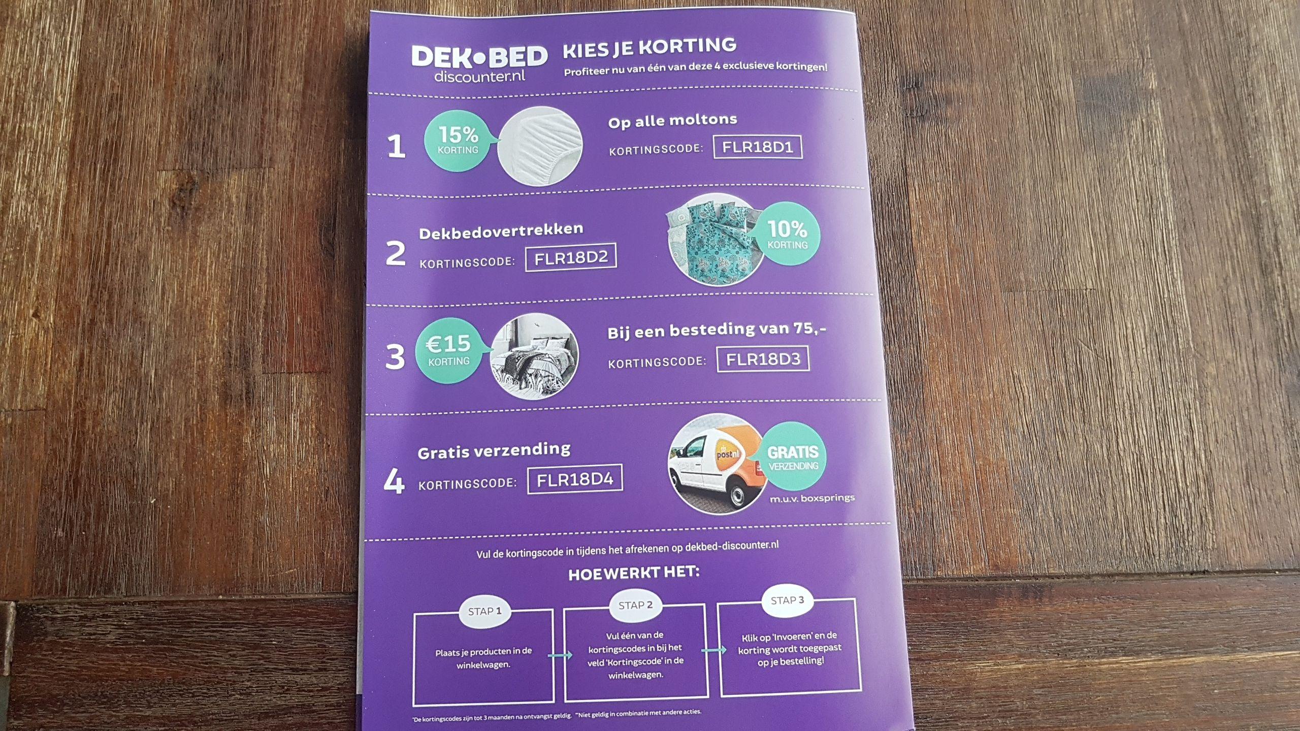Verschillende kortingscodes Dekbed discounter