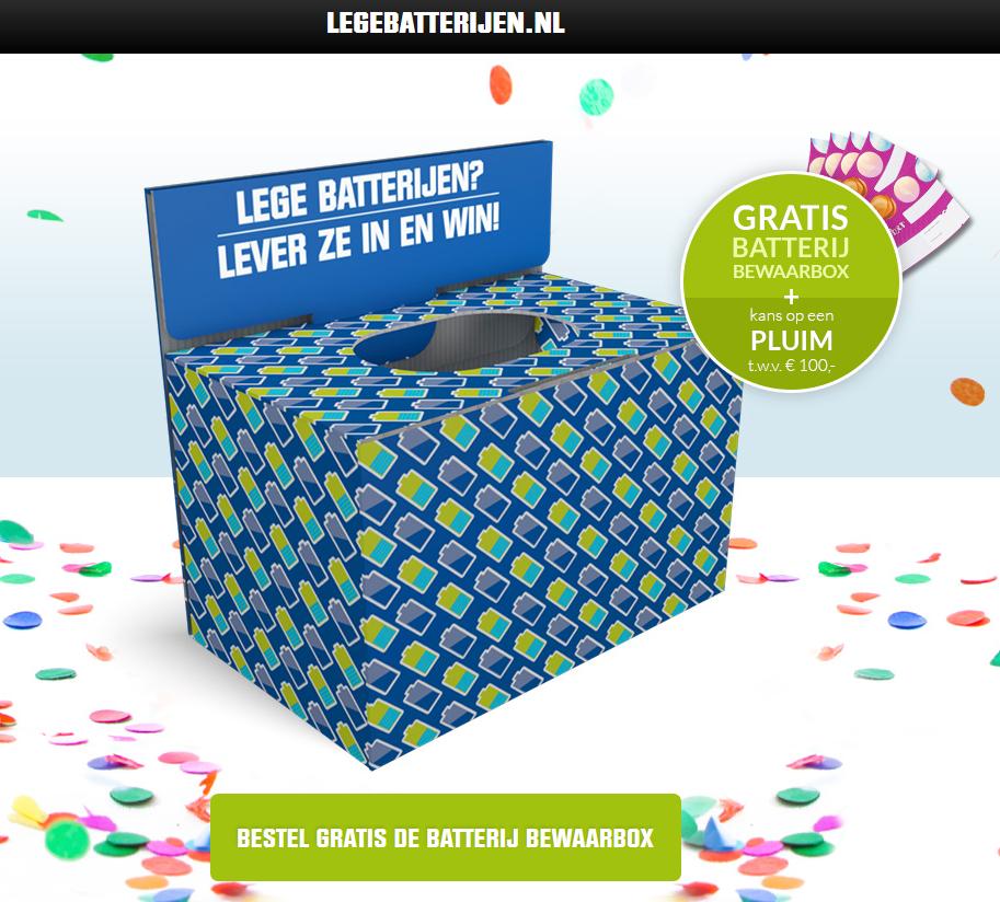 Gratis batterij bewaarbox + kans op een Pluim cadeaubon van €100 @ Lege Batterijen