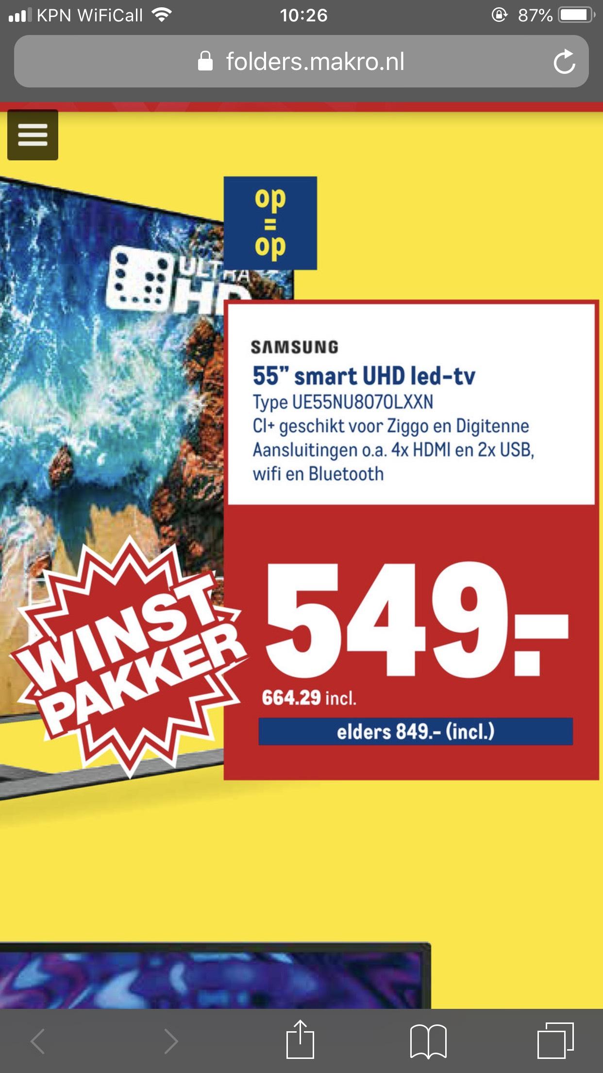 (Makro) Samsung UE55NU8070LXXN 665 inc