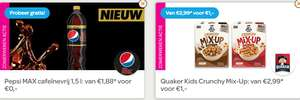 Scoupy preview (nu voor iedereen) 1,5 l Pepsi MAX cafeïnevrij €0,- + Quaker Kids Crunchy Mix-Up €1,-