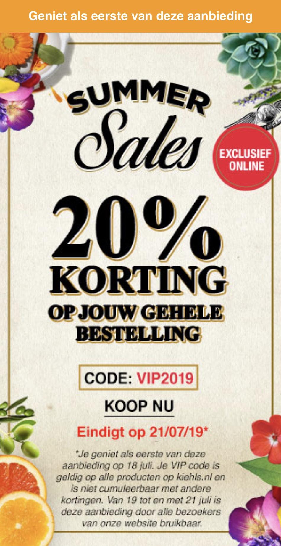 Kiehl's geeft 20% korting op jouw bestelling!