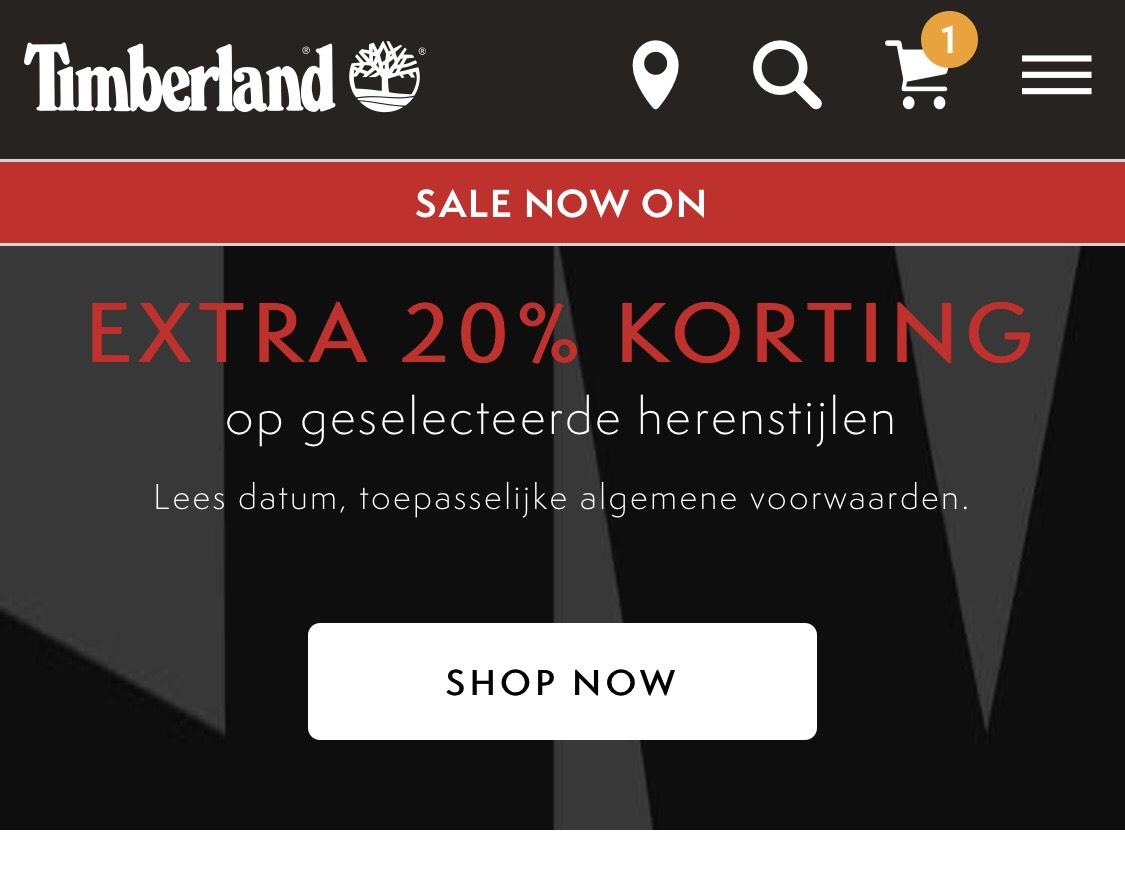 20% + 10% Extra korting op Timberland heren SALE