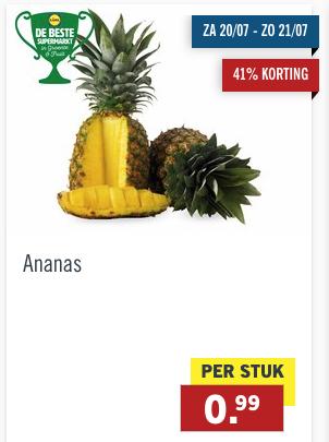Ananas voor 0,99 euro (41% korting)