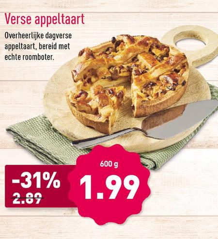Verse appeltaart 600 gram met roomboter bij Aldi