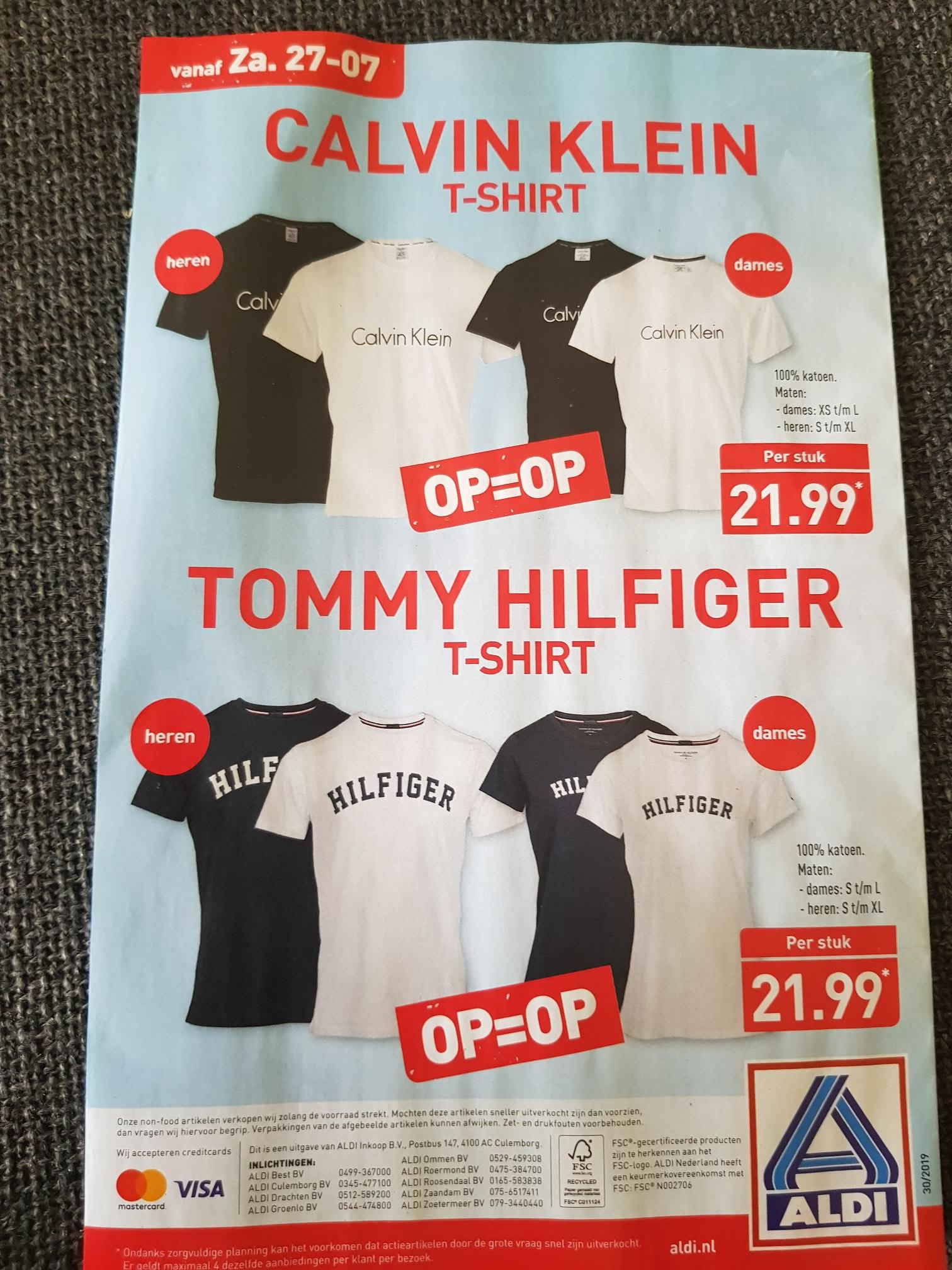 CK en Tommy Hilfiger shirts voor 21,99 bij Aldi