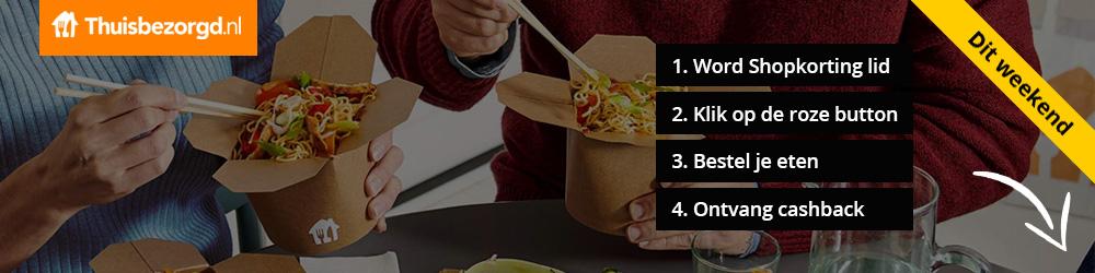 30% cashback op eten bestellen bij Thuisbezorgd via Shopkorting