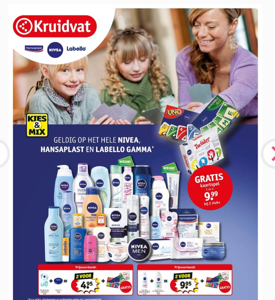 [Grensdeal België] Uno, Scrabble of Twister kaartspel bij twee Nivea, Labello of Hansaplast producten