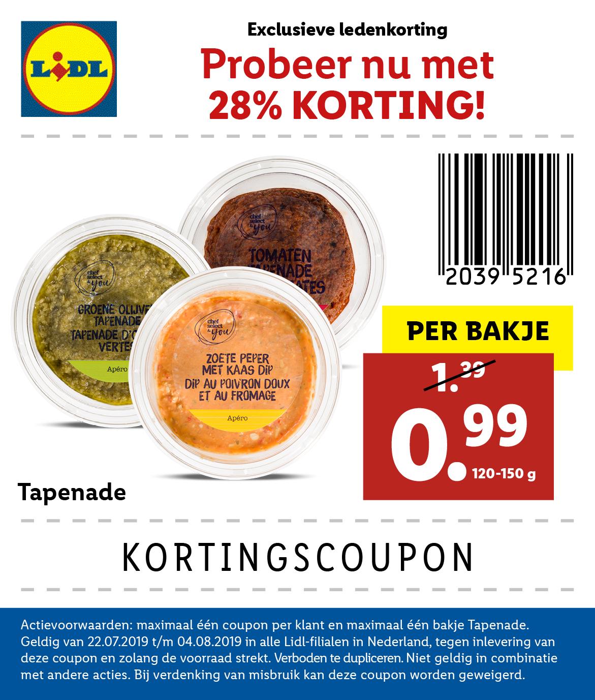 Kortingscoupon Lidl tapenade (€0,99 per bakje)