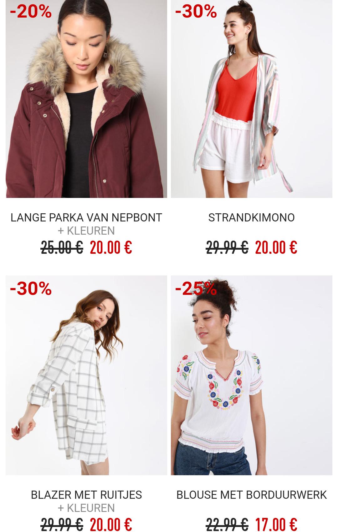 [Grensdeal België] 3 stuks voor €15 oa jassen, spijkerbroeken, jurkjes, badkleding & schoenen (Pimkie)