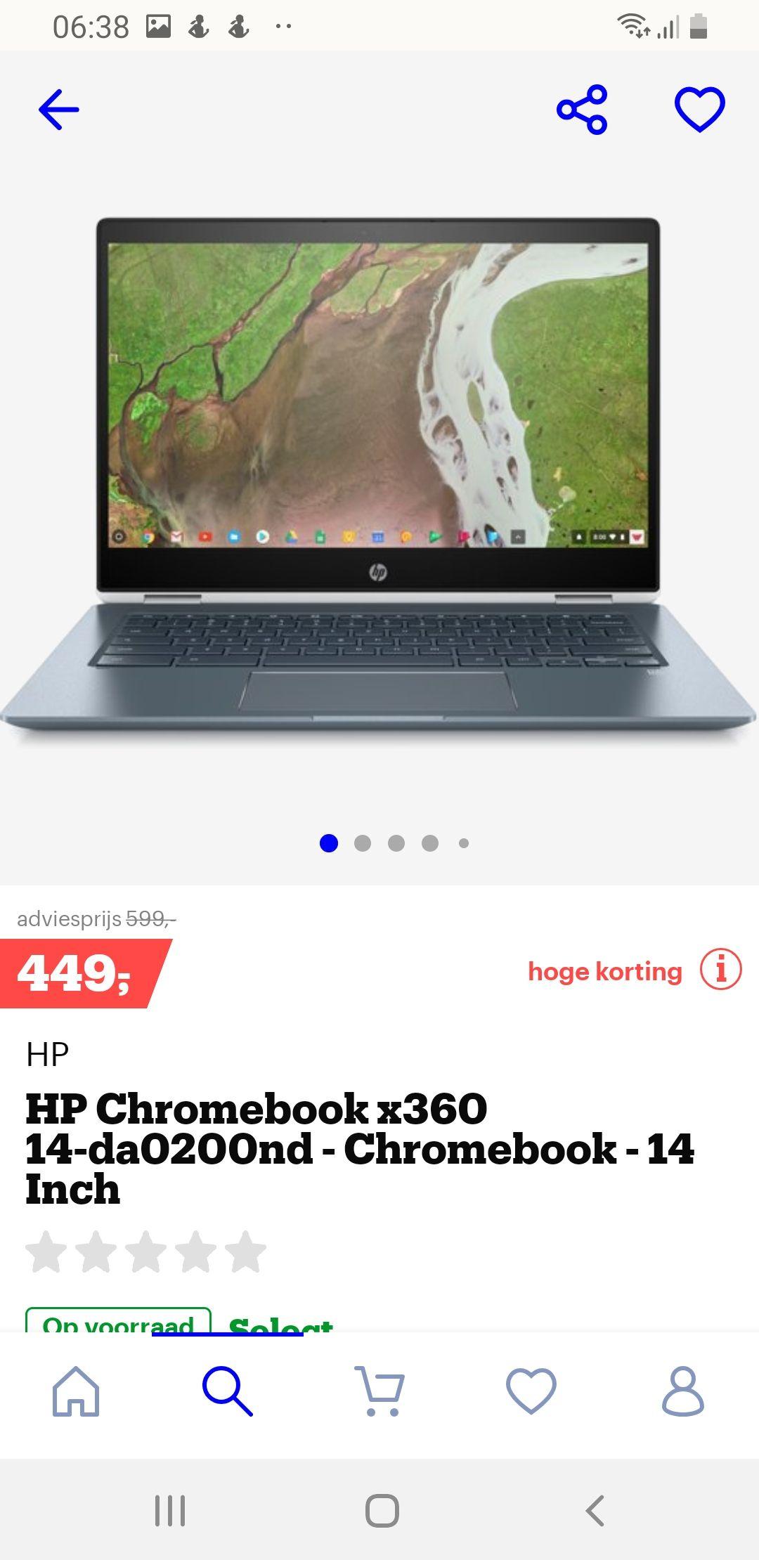 Hp omklapbare chromebook, normaal 599 nu 449!!!