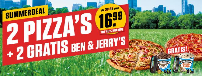Summerdeal: 2 pizza's met 2 GRATIS Ben & Jerry's voor €16,99