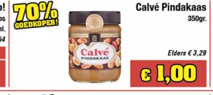 350 gram Calve Pindakaas voor €1 bij Budgetfood (Elders €2,75)