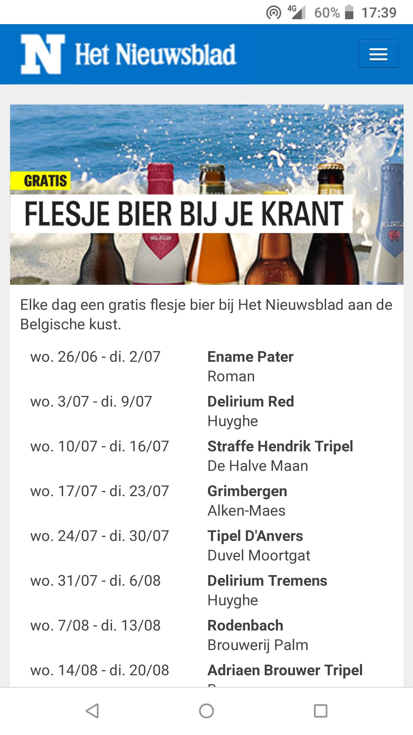 [GRENSDEAL BELGISCHE KUST] Gratis bier bij aankoop krant, elke dag!