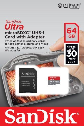 Sandisk microSDXC UHS-I + SD adapter 64GB voor € 29,49 @ Amazon.de