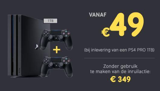 PS4 Pro + 2 controllers voor €49 bij inlevering PS4 Pro bij Game Mania
